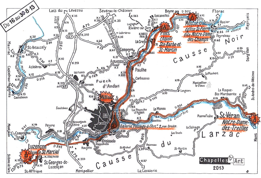 carte des 5 sites